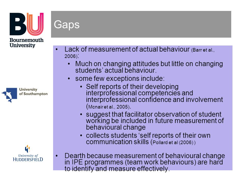 Gaps Lack of measurement of actual behaviour (Barr et al., 2006):