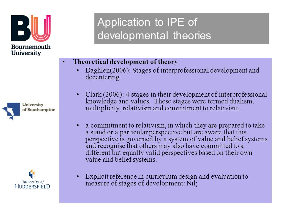 Application to IPE of developmental theories