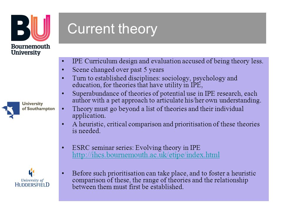 Current theory IPE Curriculum design and evaluation accused of being theory less. Scene changed over past 5 years.