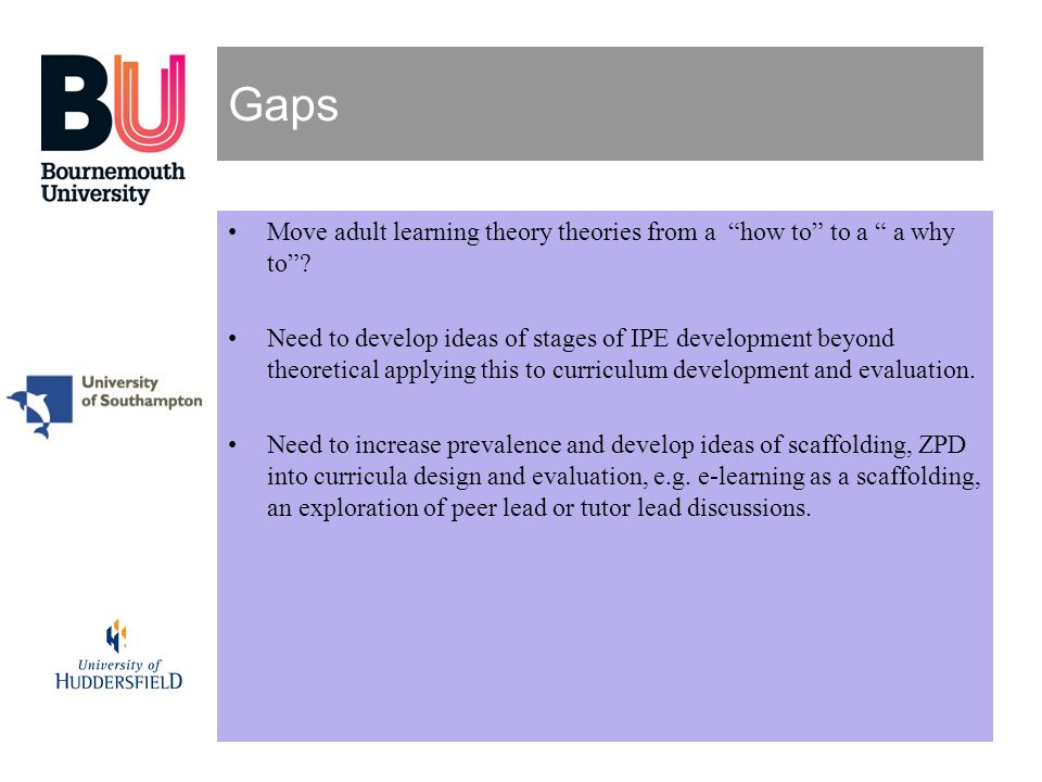 Gaps Move adult learning theory theories from a how to to a a why to
