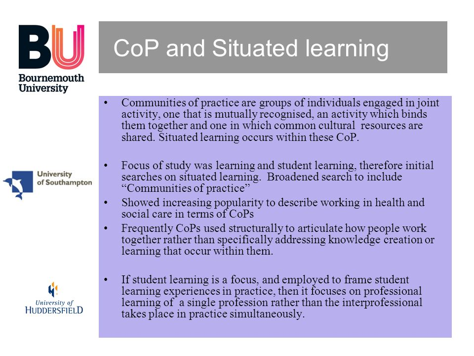 CoP and Situated learning
