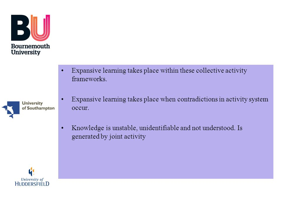 Expansive learning takes place within these collective activity frameworks.