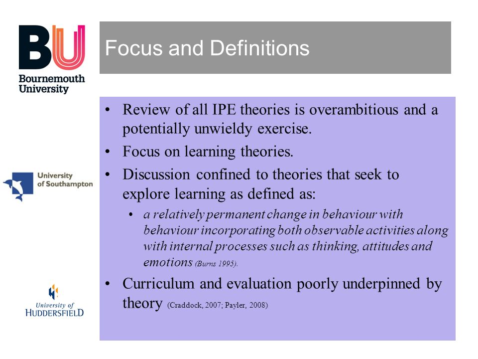 Focus and Definitions Review of all IPE theories is overambitious and a potentially unwieldy exercise.