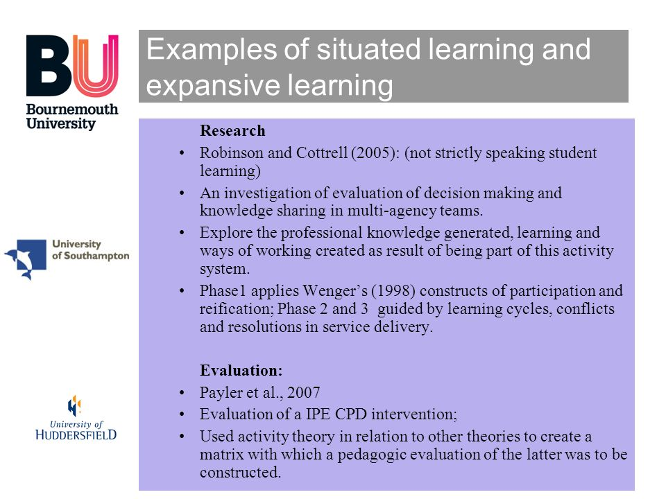 Examples of situated learning and expansive learning
