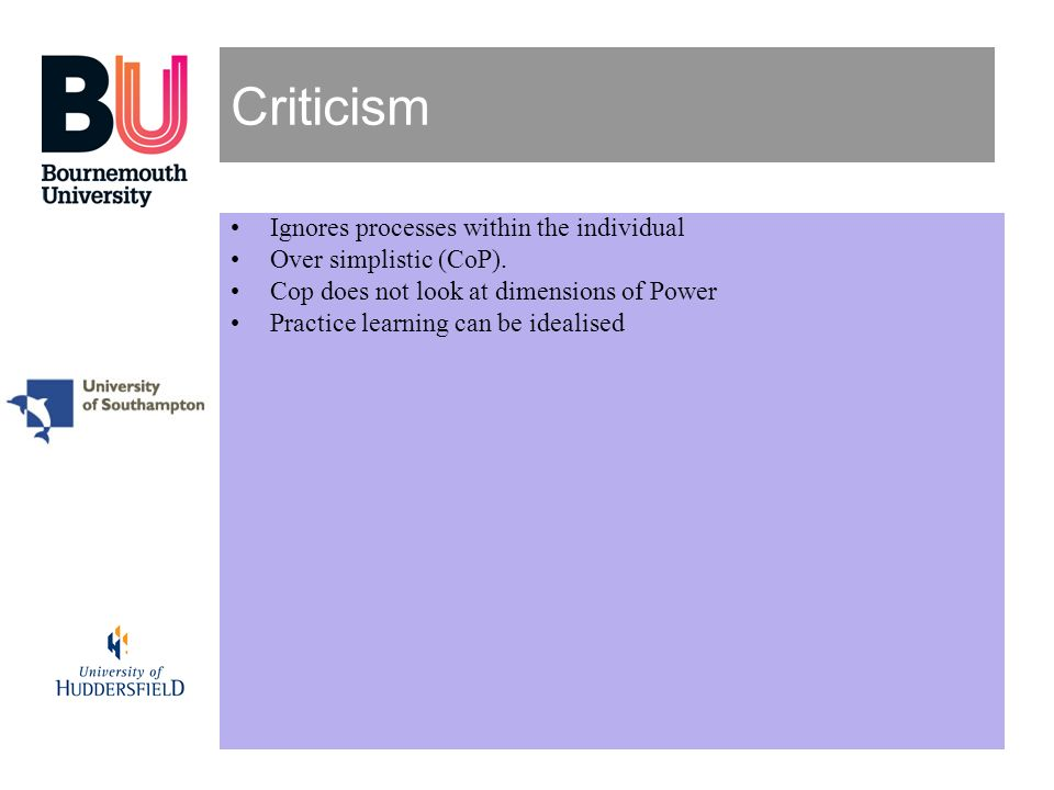 Criticism Ignores processes within the individual. Over simplistic (CoP). Cop does not look at dimensions of Power.