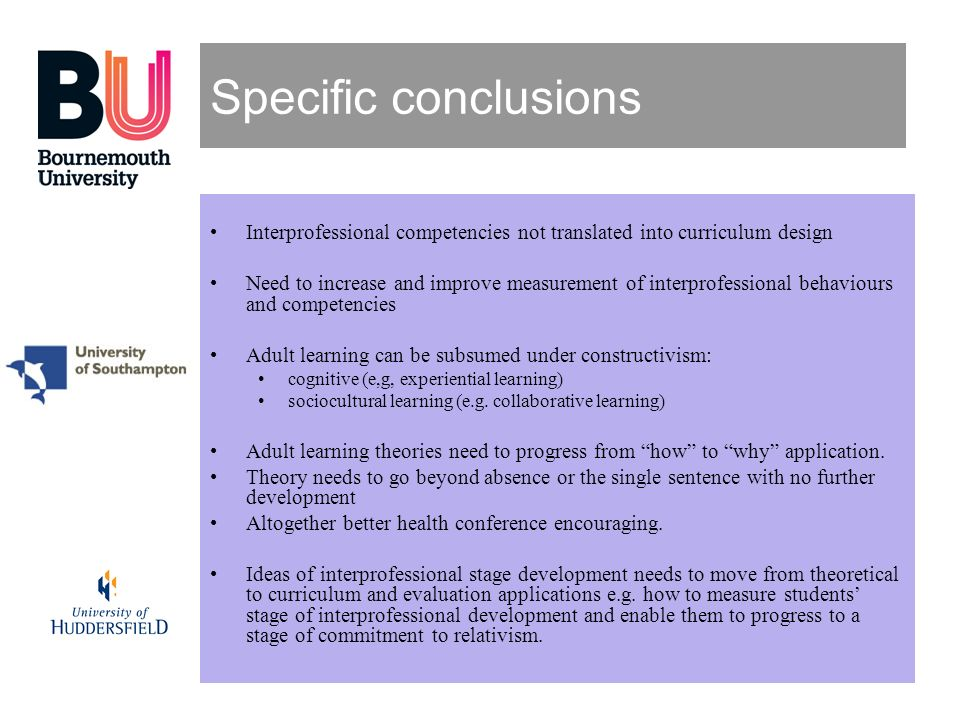 Specific conclusions Interprofessional competencies not translated into curriculum design.