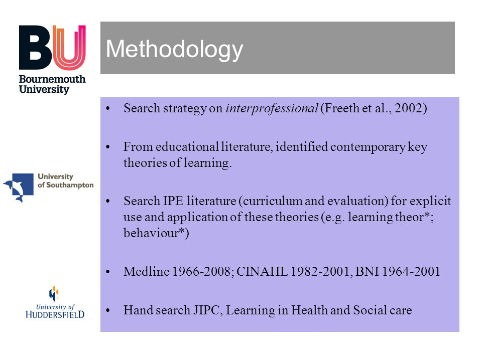 Methodology Search strategy on interprofessional (Freeth et al., 2002)