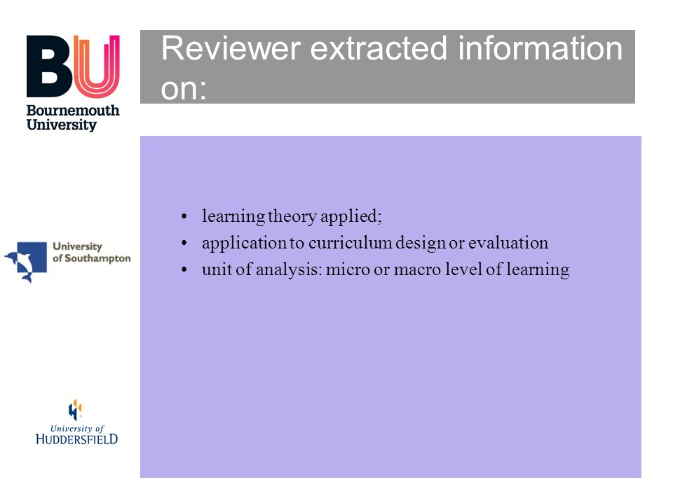 Reviewer extracted information on: