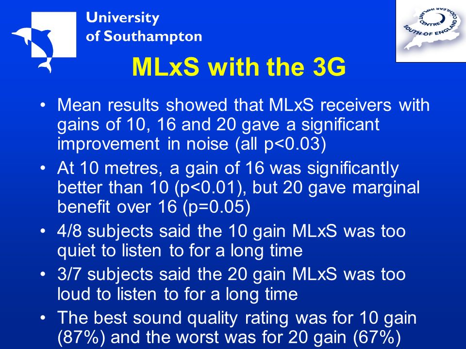 MLxS with the 3G Mean results showed that MLxS receivers with gains of 10, 16 and 20 gave a significant improvement in noise (all p<0.03)