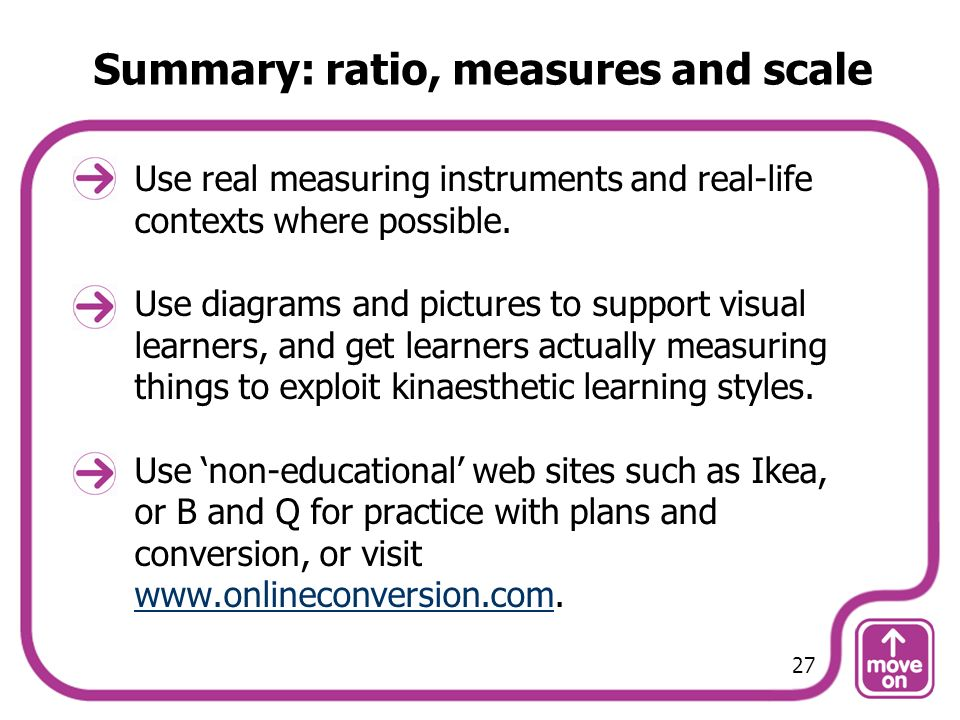 Summary: ratio, measures and scale