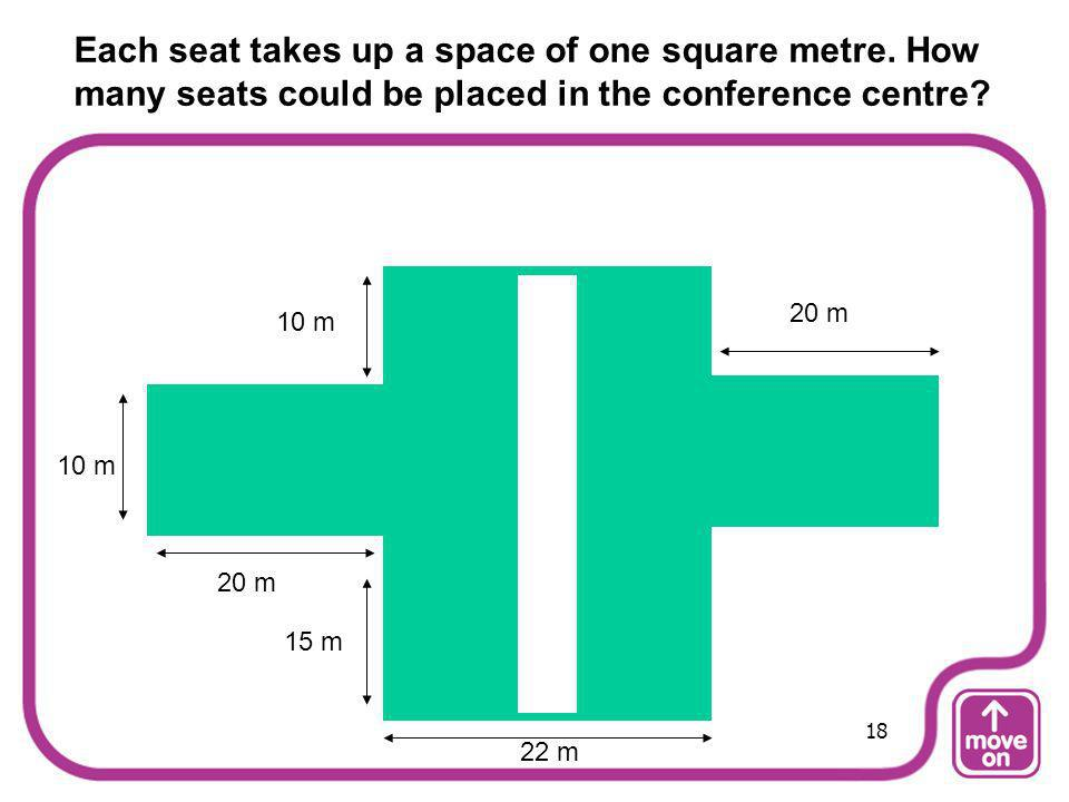 Each seat takes up a space of one square metre