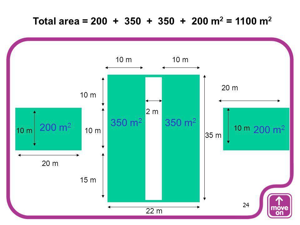 Total area = 200 + 350 + 350 + 200 m2 = 1100 m2 10 m. 10 m. 20 m. 10 m. 2 m. 350 m2. 350 m2.