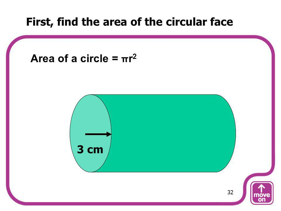 First, find the area of the circular face