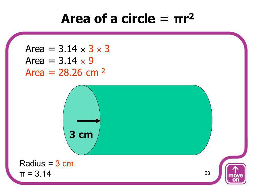 Area of a circle = πr2 Area = 3.14  3  3 Area = 3.14  9