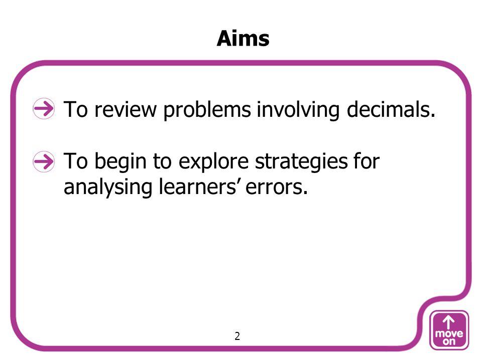 To review problems involving decimals.