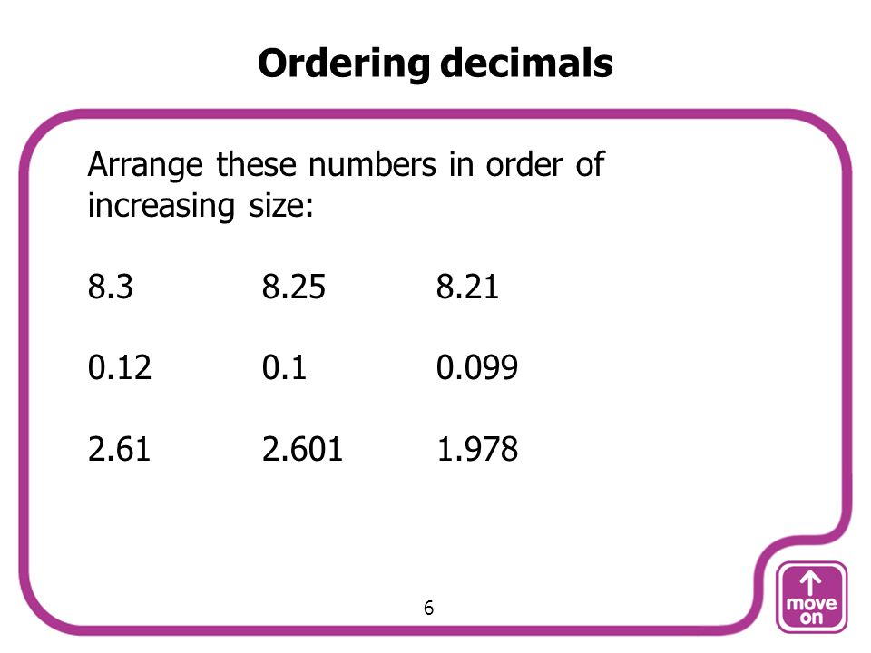 Ordering decimals Arrange these numbers in order of increasing size: