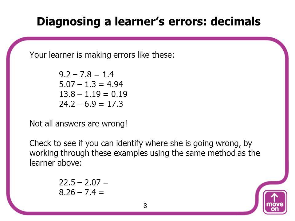 Diagnosing a learner's errors: decimals