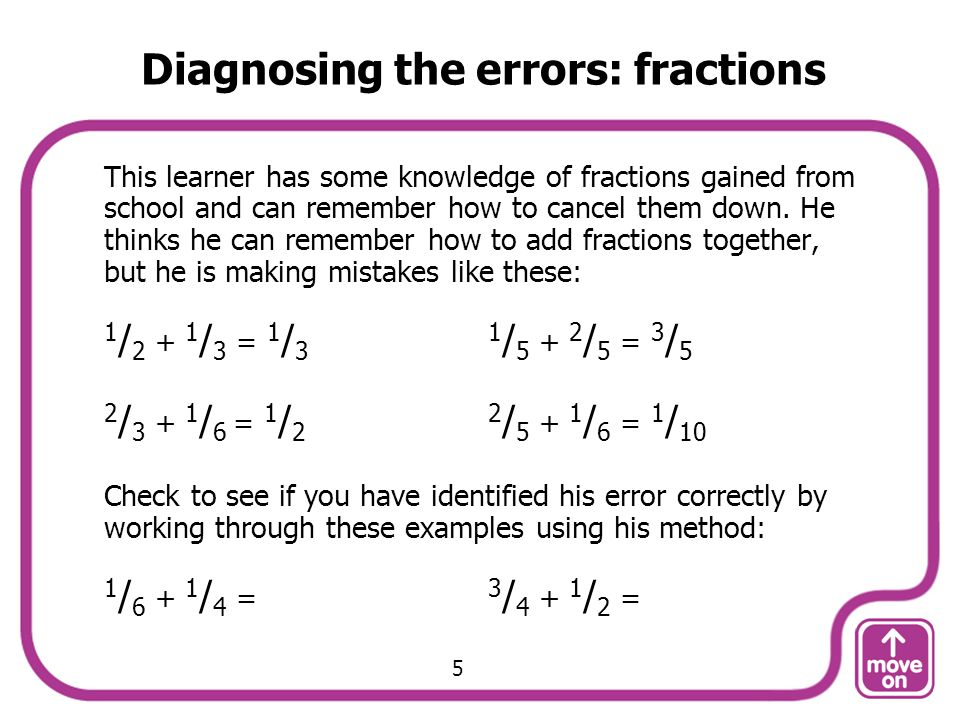 Diagnosing the errors: fractions