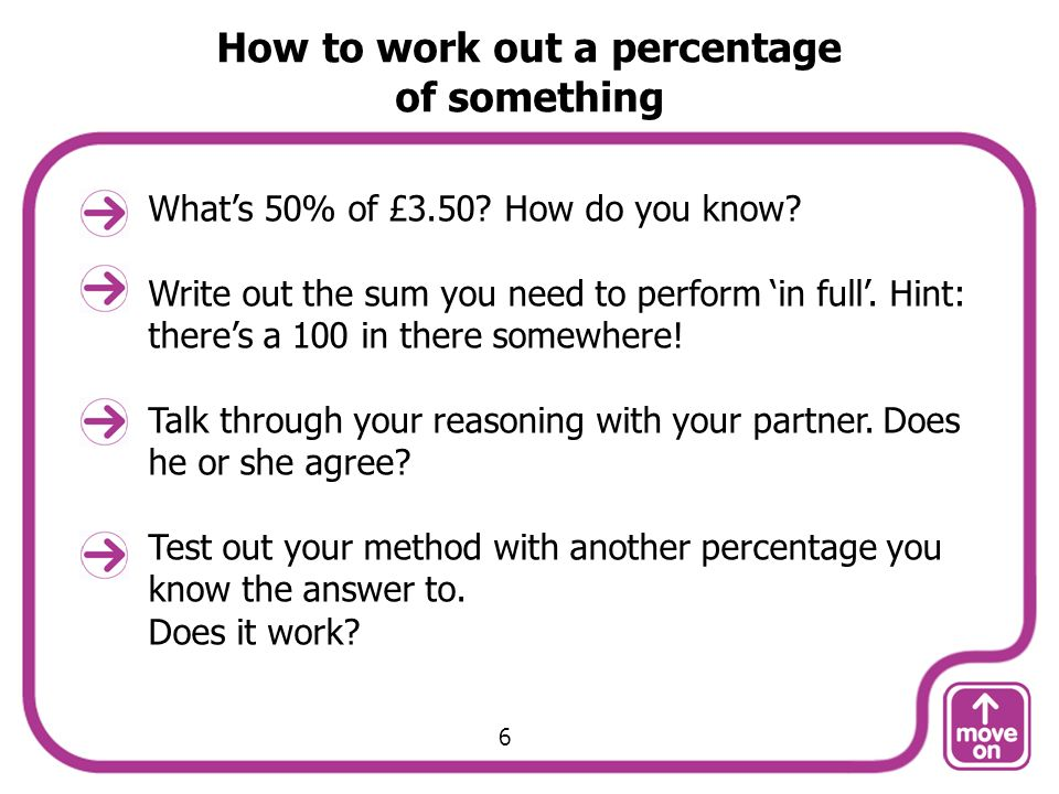 How to work out a percentage of something