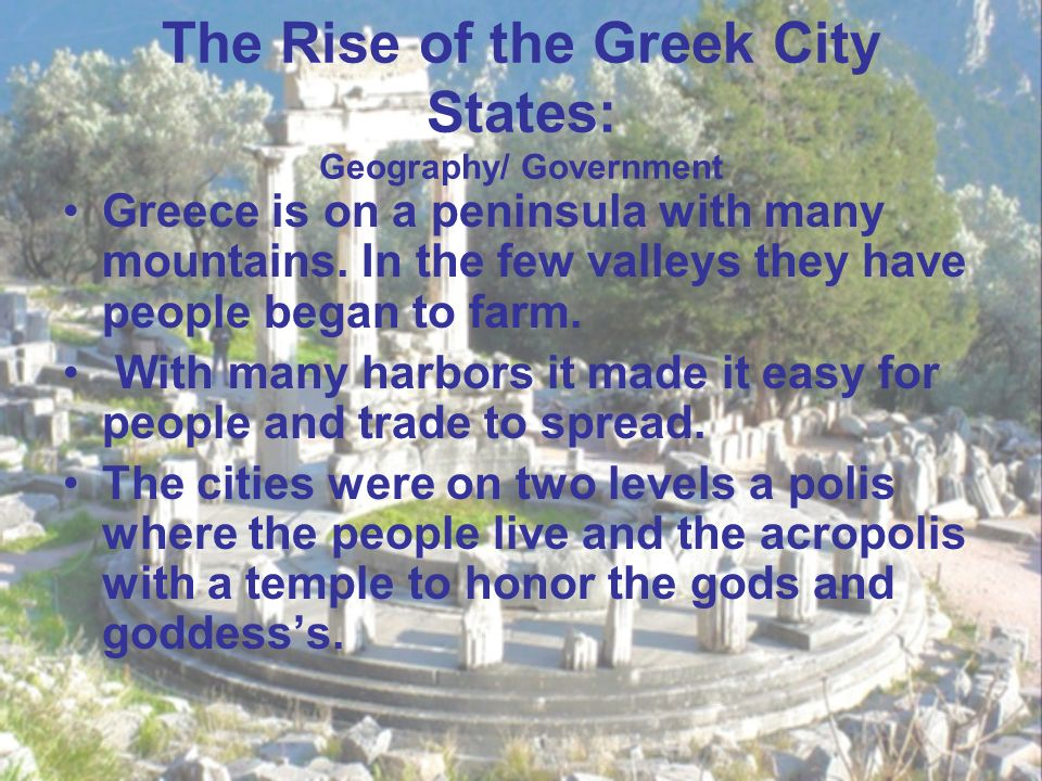 the rise of greek city states This text describes the main forms of government in ancient greek city-states: democracy, oligarchy, monarchy, and tyranny it also details how public officials play a role in government.