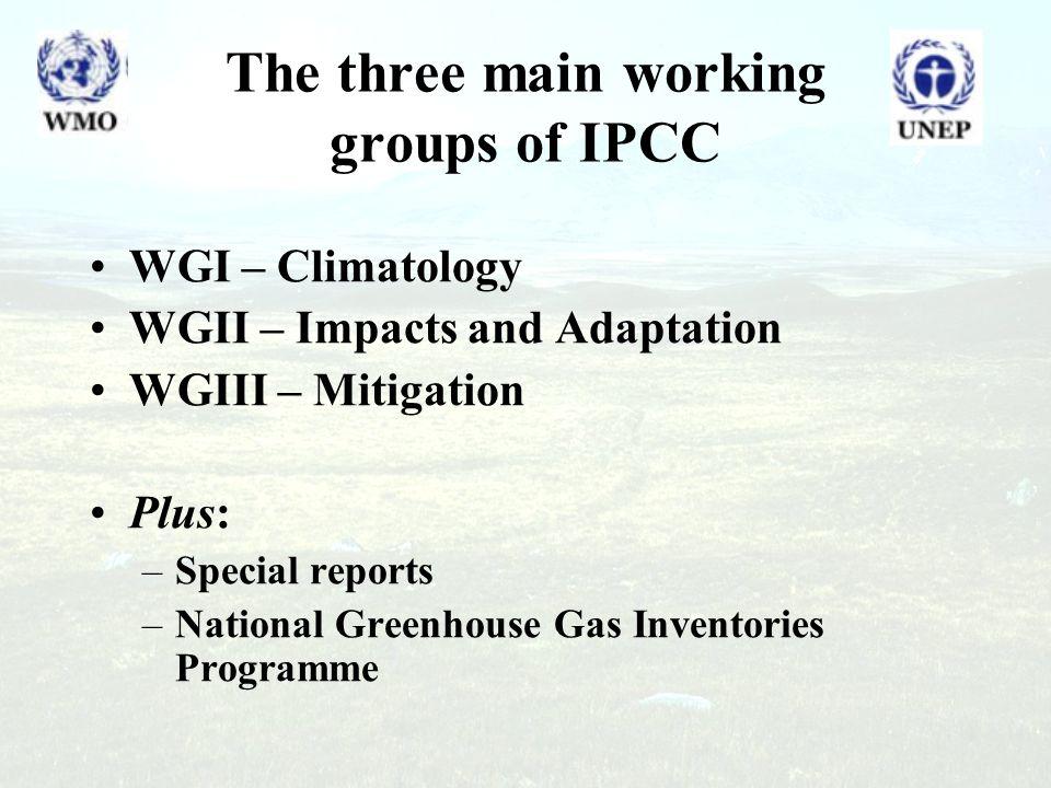 The three main working groups of IPCC