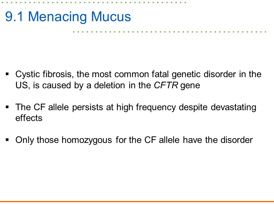 cystic fibrosis one of the most common lethal genetic diseases in caucasians Cystic fibrosis is the most common lethal genetic disorder among caucasians a chloride ion transport protein is defective in affected individuals among patients.