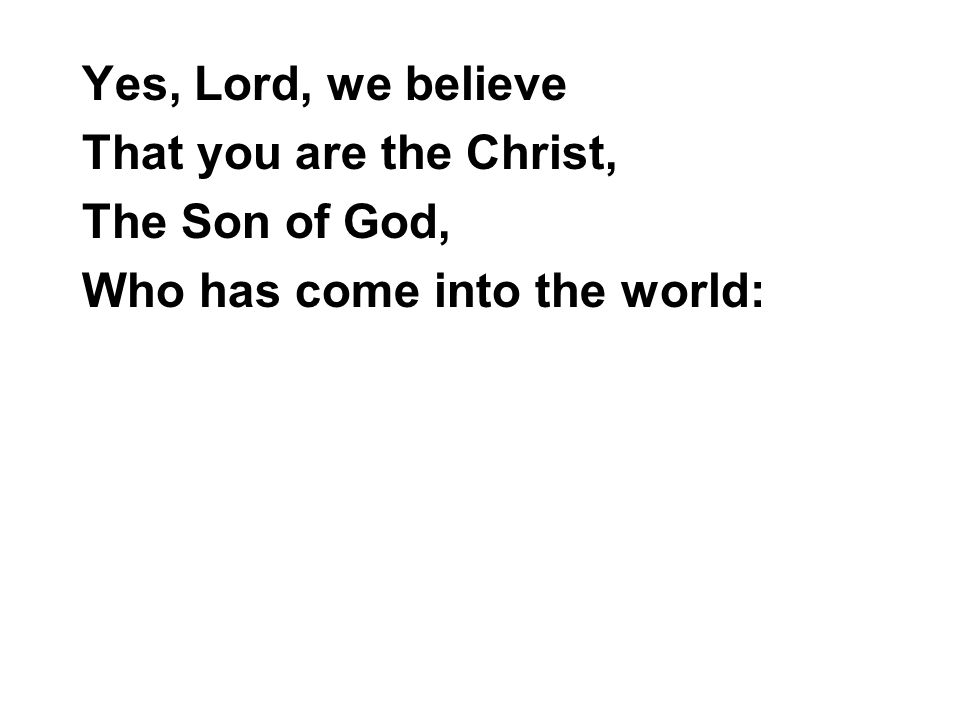 Yes, Lord, we believe That you are the Christ, The Son of God, Who has come into the world: