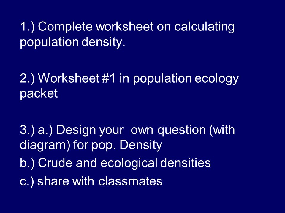 Chapter 14 Population Ecology ppt download – Population Density Worksheet