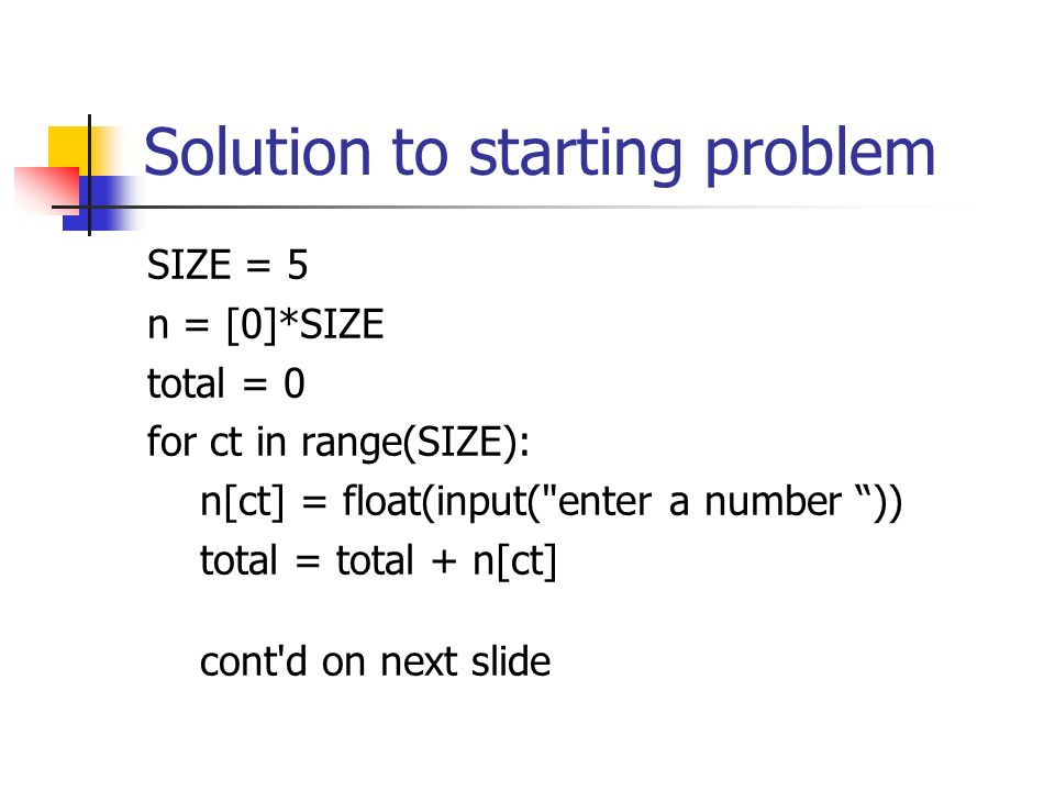 Starting problems