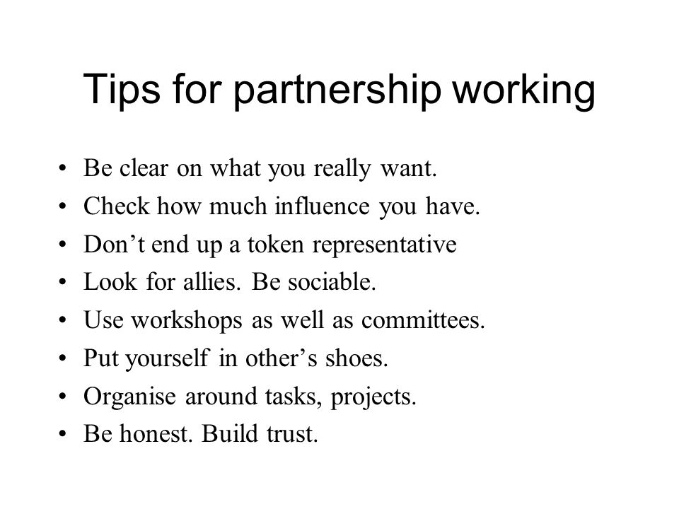 Tips for partnership working