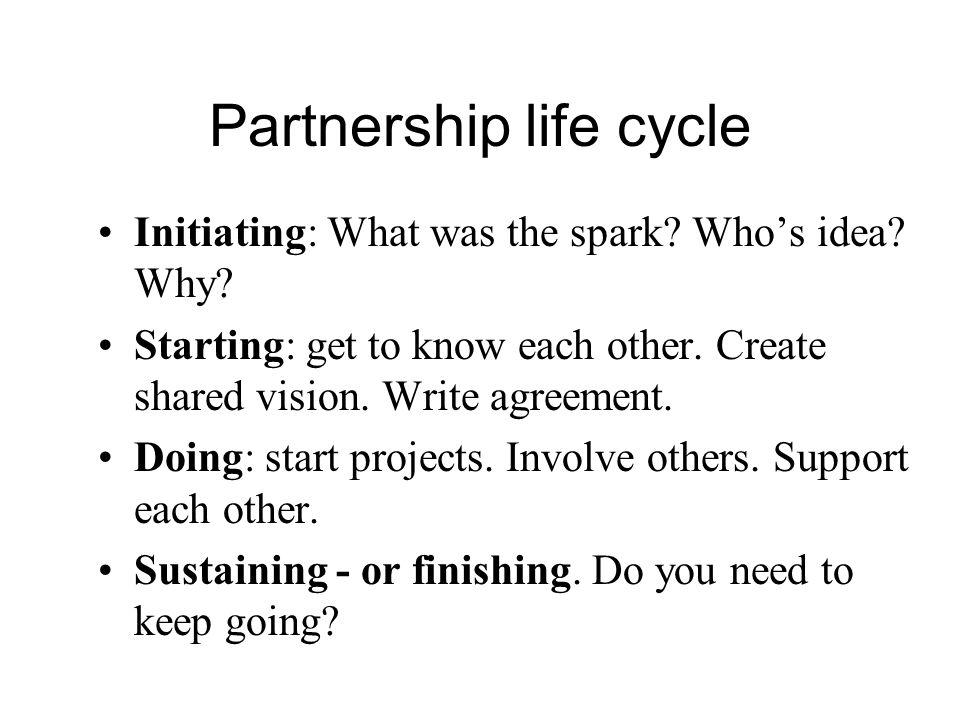 Partnership life cycle