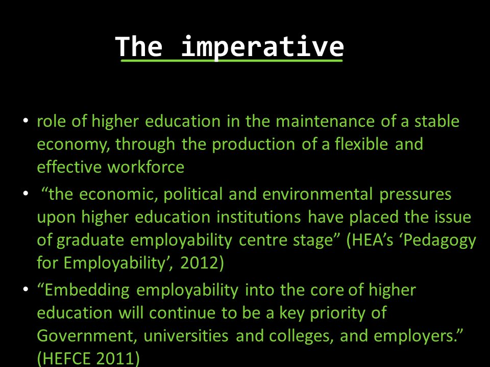 The imperative role of higher education in the maintenance of a stable economy, through the production of a flexible and effective workforce.