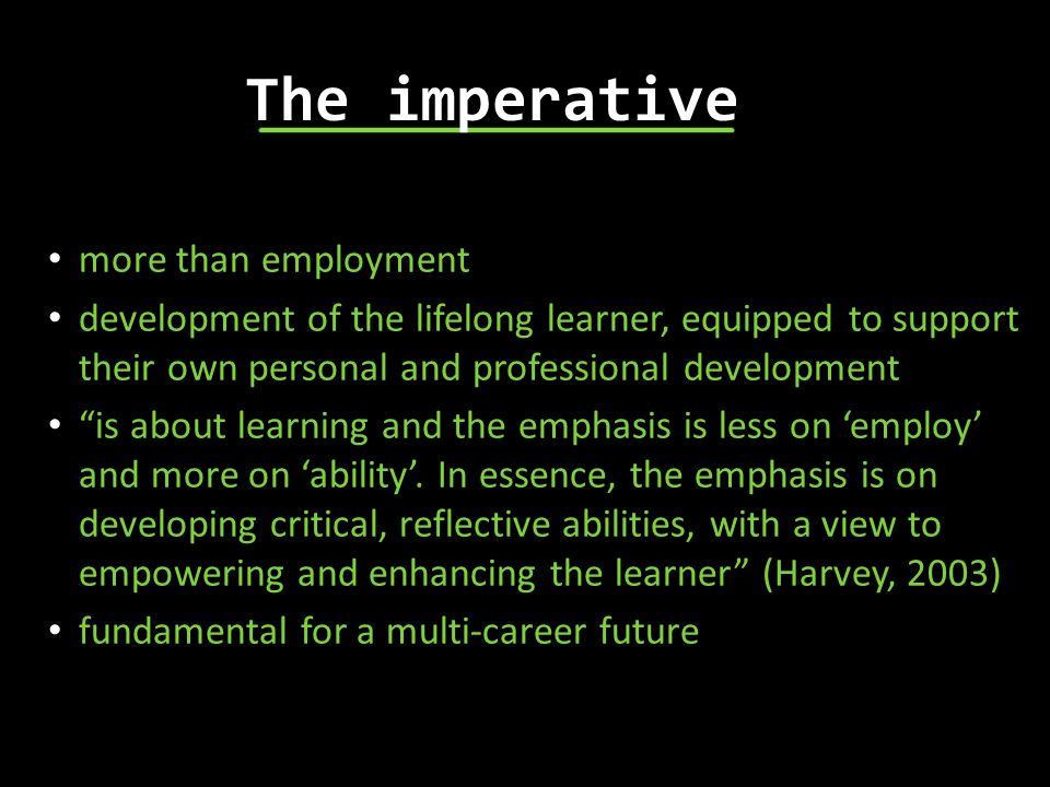 The imperative more than employment