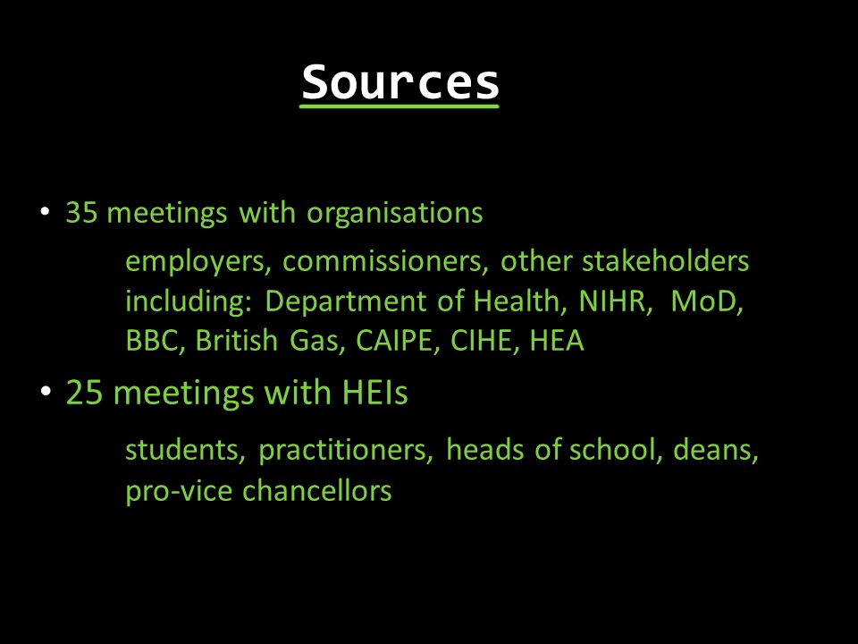 Sources 25 meetings with HEIs