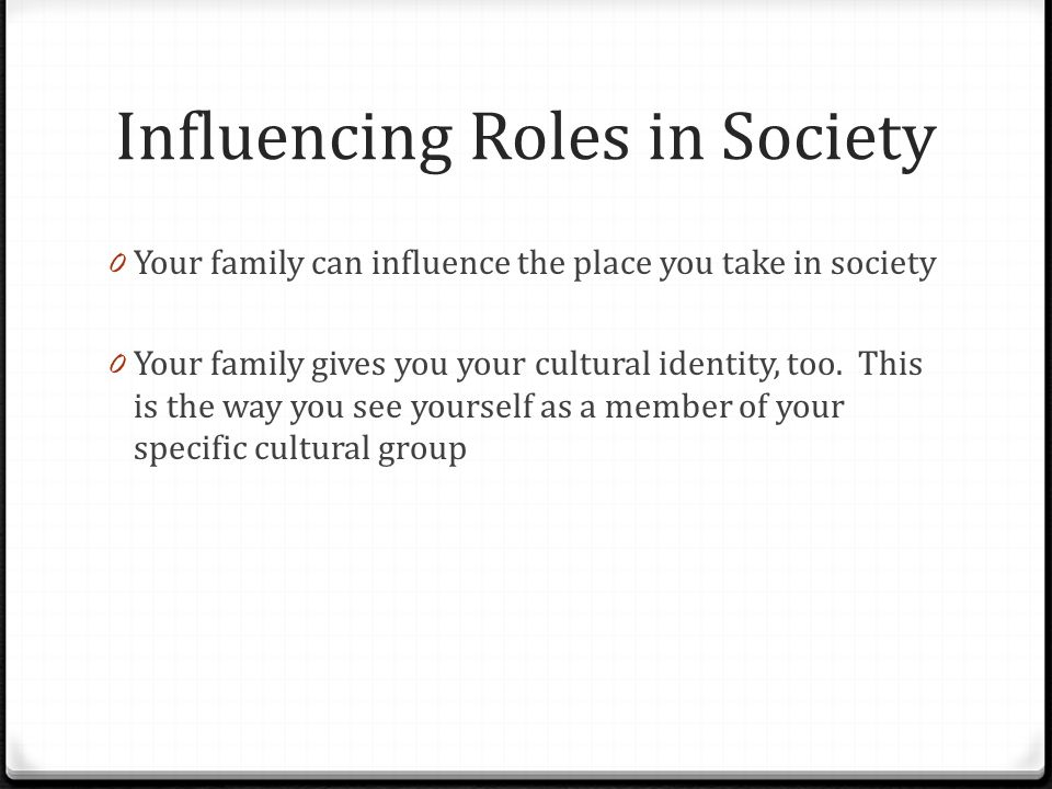 Influencing Roles in Society