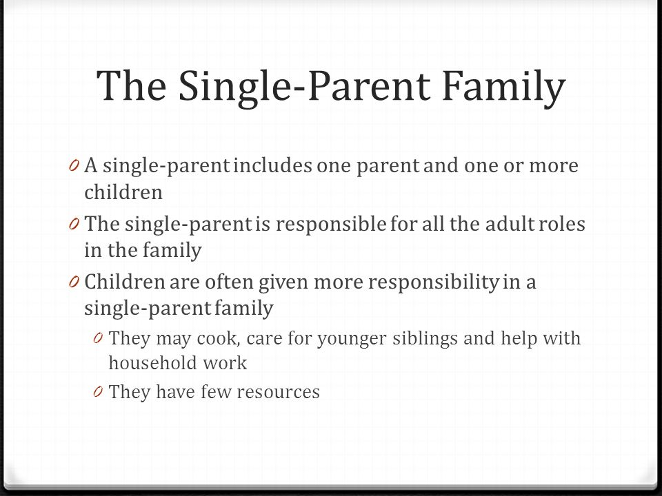 The Single-Parent Family
