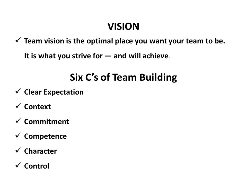 Six C's of Team Building
