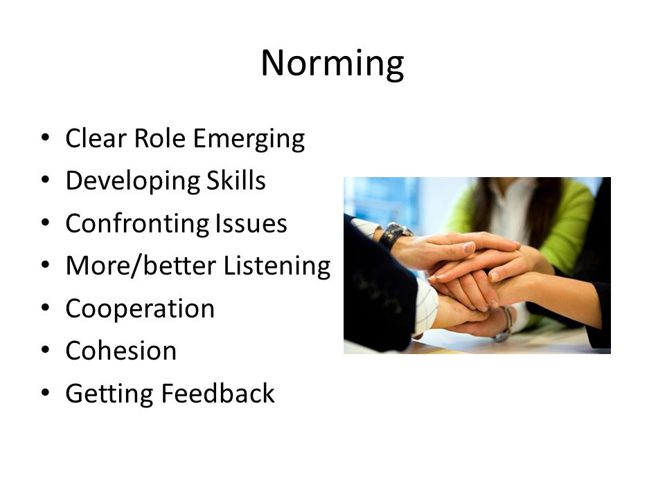 Norming Clear Role Emerging Developing Skills Confronting Issues