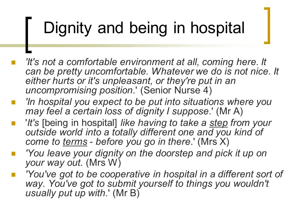 Dignity and being in hospital