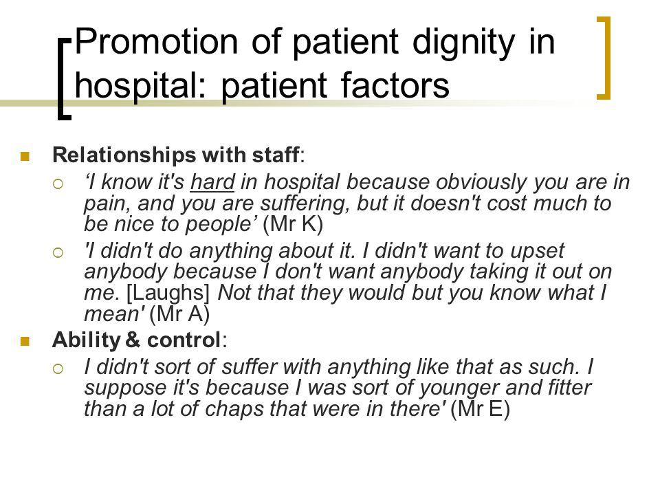 Promotion of patient dignity in hospital: patient factors