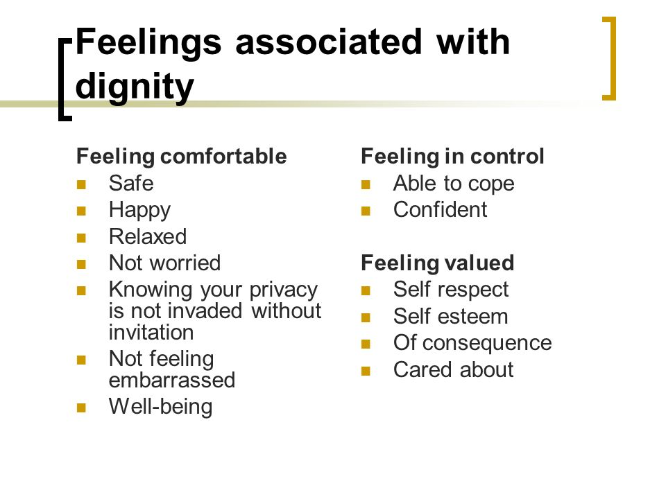Feelings associated with dignity