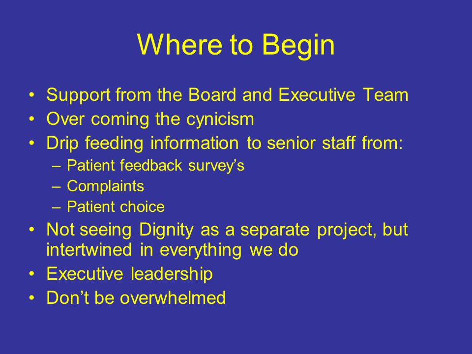 Where to Begin Support from the Board and Executive Team