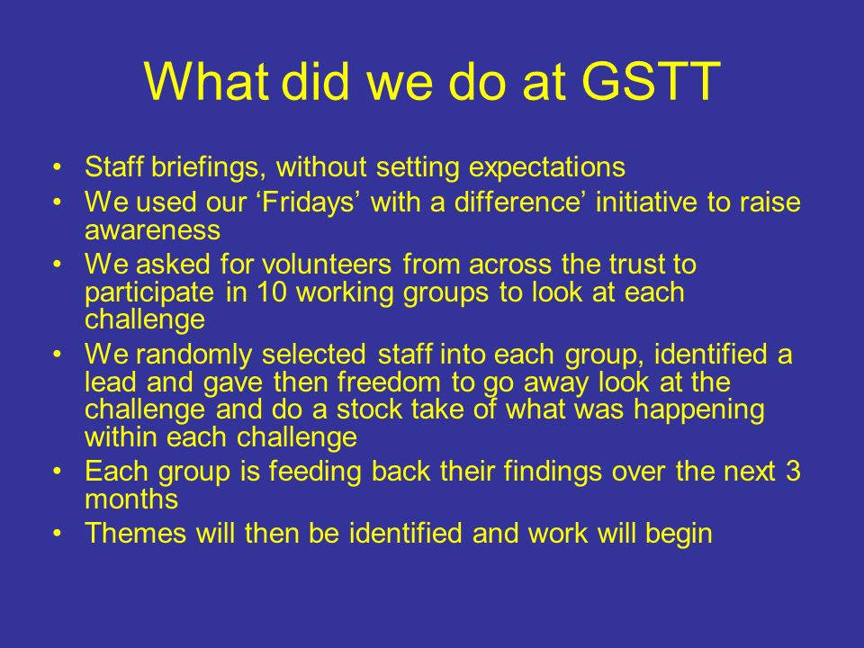 What did we do at GSTT Staff briefings, without setting expectations