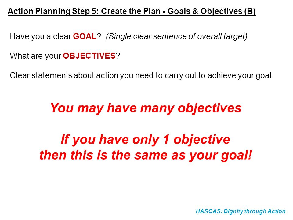You may have many objectives If you have only 1 objective