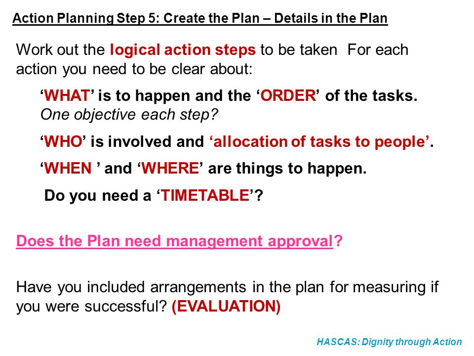 'WHAT' is to happen and the 'ORDER' of the tasks.