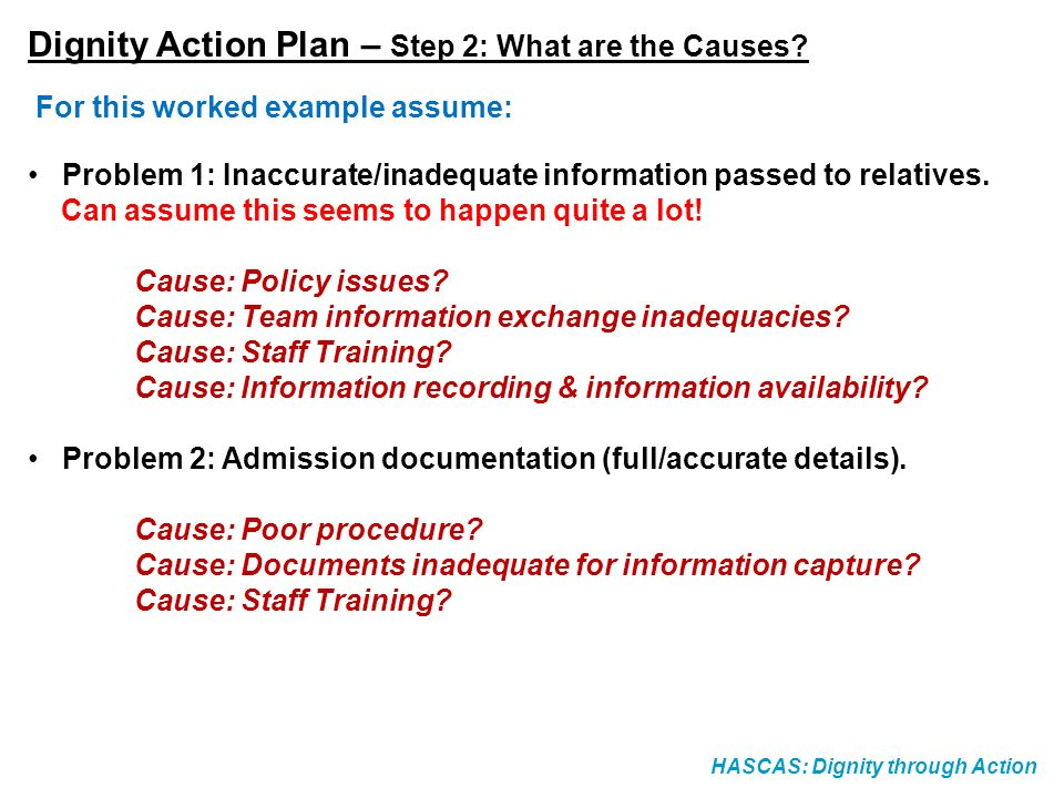 Dignity Action Plan – Step 2: What are the Causes