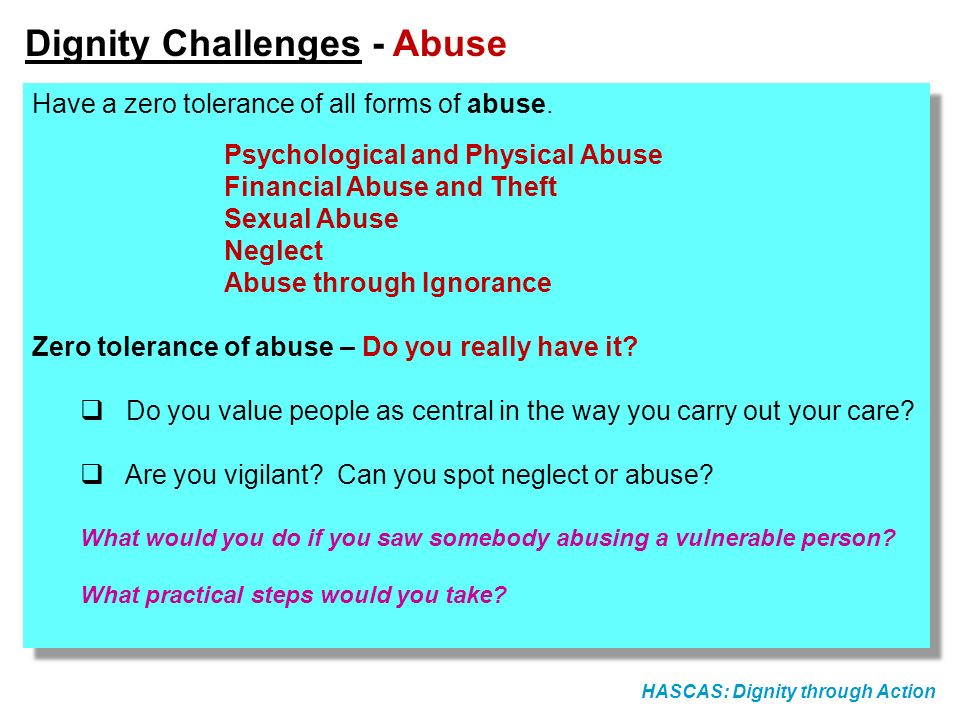 Dignity Challenges - Abuse