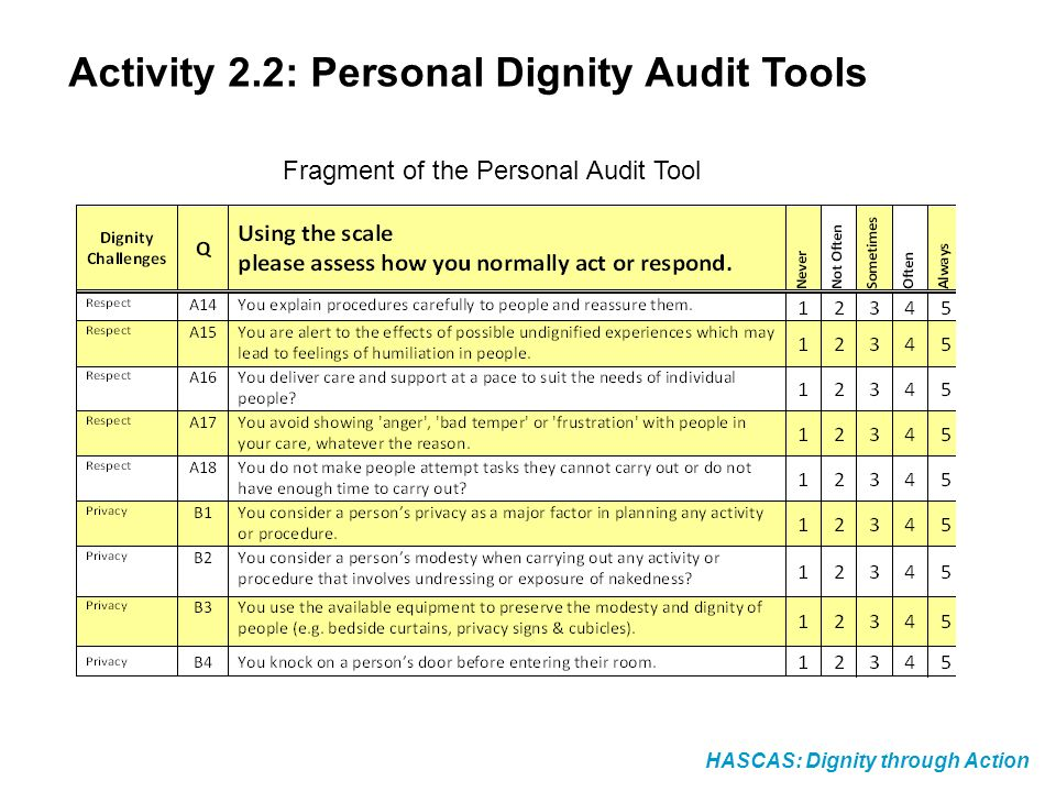 Activity 2.2: Personal Dignity Audit Tools