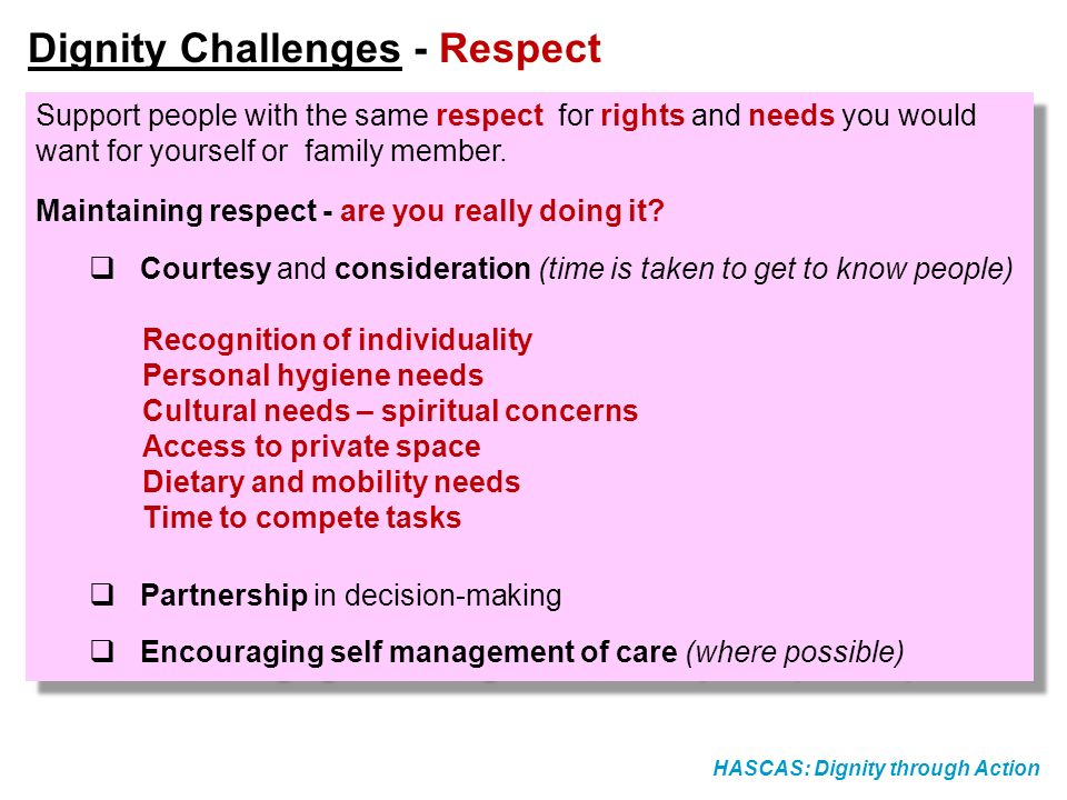 Dignity Challenges - Respect