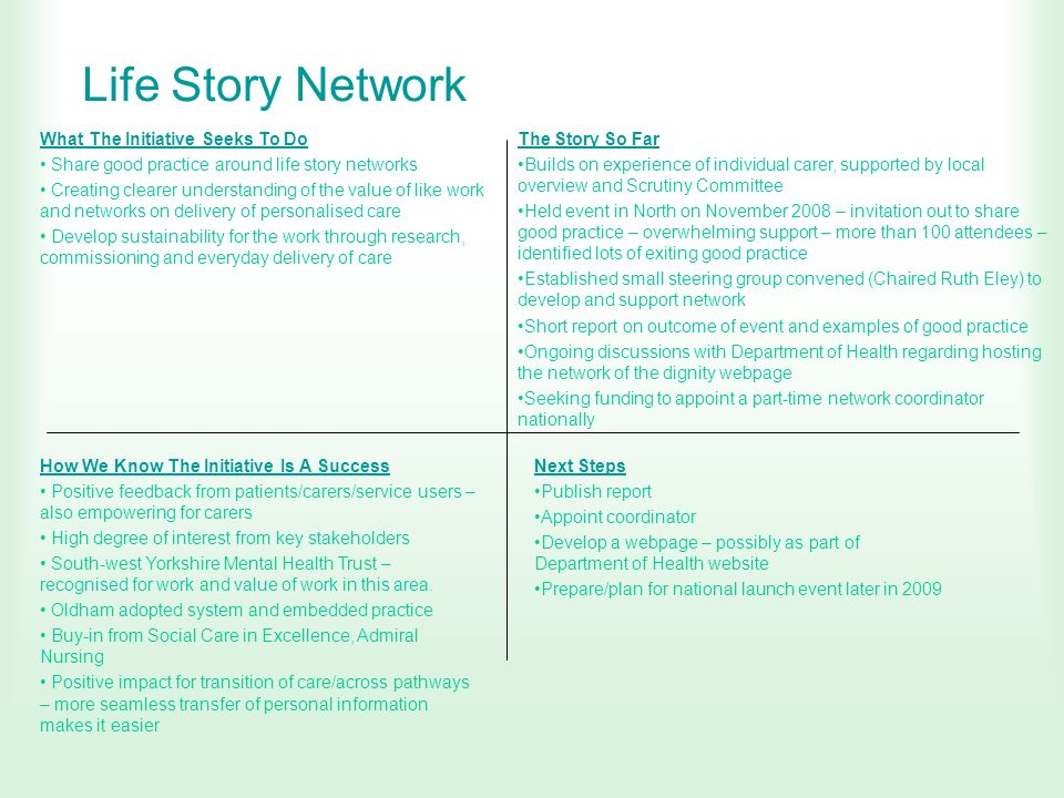 Life Story Network What The Initiative Seeks To Do